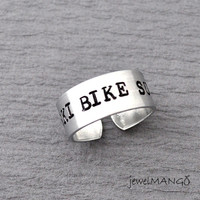 Hand stamped Custom Ring, Personalized metal Ring, custom Ring, aluminum hand stamped Ring, Bike, your own text customized