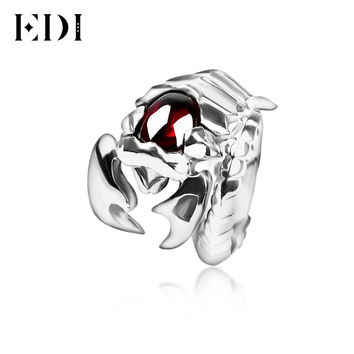 EDI Fine Jewelry Vintage Scorpion Gem Men Rings Cool Exaggerated 925 Sterling Silver Man's Ring Opening