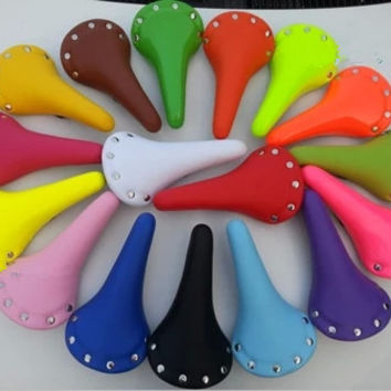 Free Shipping Classic Yellow Blue Rivet Fixed Gear Bicycle Cycling Seat Cover Single Speed Fixie MTB Bike Saddle PA0081