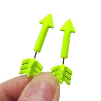 Fake Gauge Earrings: Realistic Arrow Shaped Faux Plug Stud Earrings in Yellow