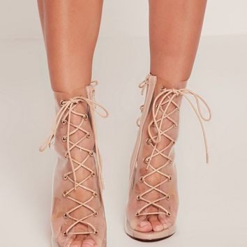 Missguided - Nude Lace Up Perspex Peep Toe Stilettos