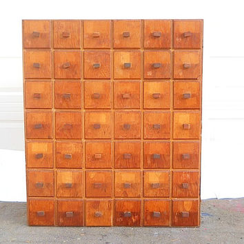 Primitive Apothecary Drawers Sale, Mid Century Storage Cabinet 62 Drawers, Home Decor For Apartment, Card Catalogue, Handmade Rustic Cabinet