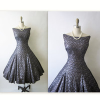 Reserved 50's Cocktail Dress // Vintage 1950's Black Metallic Lace Cocktail Party Full Circle Dress S M