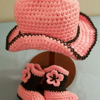 Baby Cowgirl Gift Set-Pink and Charcoal-#331