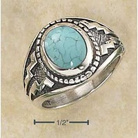 Sterling Silver Ring:  Oval Reconstituted Turquoise With Wide Aztec Design Shank