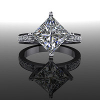 Forever Brilliant Moissanite and Diamonds Princess Cut Engagement Ring 3.15 CTW