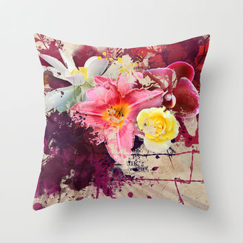 Country Floral Throw Pillow by Allison Reich