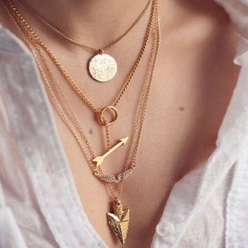 Multi Layered Pendant Chain Necklace