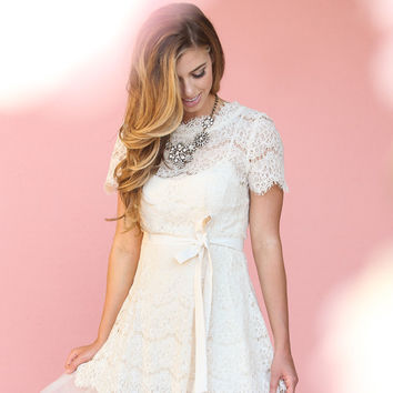 Sally Cream Lace Tulle Dress by Ark & Co