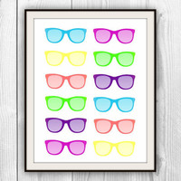 Hipster Glasses - 11x14 Multicolor Retro Print - Bedroom, Dorm room,