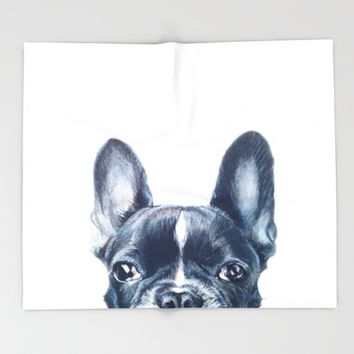 Hand painting French Bulldog illustration Throw Blanket by MiartDesignCreation
