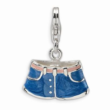 Sterling Silver 3-D Enameled Blue Jean Shorts w/Lobster Claw Clasp Charm