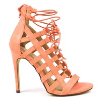 Mark and Maddux Common-14 Elastic Gladiator Sandals in Salmon @ ippolitan.com