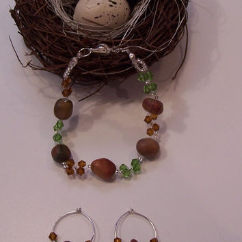 Jasper Stone Nuggets And Swarovski Crystals Bracelet And Earring Set