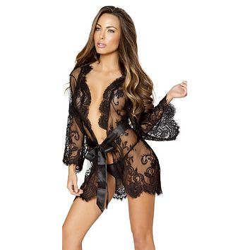 Sexy Tiffany Lace Robe with Eyelash Detail & Satin Waist Tie