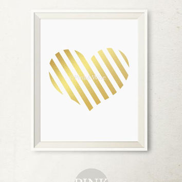 Gold Foil Print, Gold Foil Heart, Bedroom wall decor Heart art print Faux Gold Foil art print, Printable wall art Gold printable Heart print