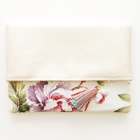 BLOSSOM 6 / Gold leather & Floral linen folded clutch - Ready to Ship