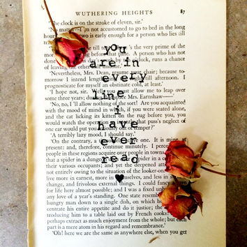 Vintage Book Page, Vintage Wall Art, Vintage Page Art, You Are In Every Line I Have Ever Read, Recycled Book Page, Love Quote, Vintage Decor