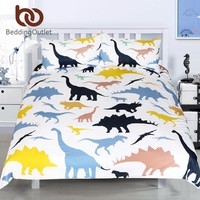 BeddingOutlet Dinosaur Bedding Sets Cartoon Kids Boy Animal Printed Colorful Duvet Cover Bed Set Twin Full Queen King Size