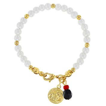 """18K Gold Plated White Simulated Pearl Guardian Angel Girls Bracelet 5"""""""