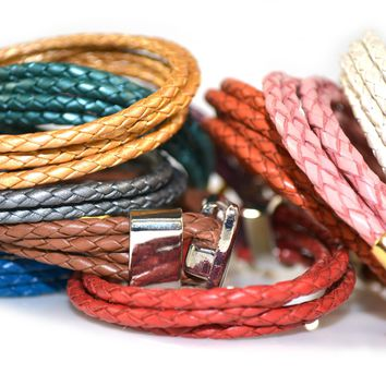 Braided Leather Wrap Bracelet with Gold or Silver Toggle Clasp Special