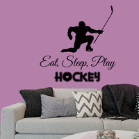 Wall Decals Words Eat Sleep Play Hockey Man Player Sport People Home Vinyl Decal Sticker Kids Nursery Baby Room Decor kk171
