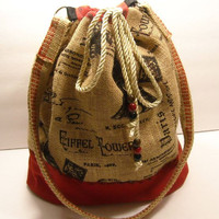French Burlap Hip Bag Paris France Eiffel Tower