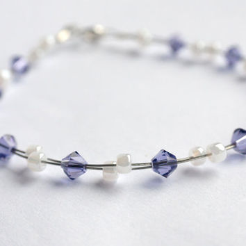 Tanzanite bracelet, purple bracelet, wire bracelet, uk jewellery