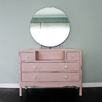 Vintage Painted Vanity Dressing Table Chest of Drawers Nursery Childs Furniture Houston Texas