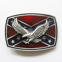 Confederate Flag with Eagle Dixie Rebel Metal Fashion Belt Buckle