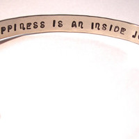 Happiness Is An Inside Job  Hand Stamped and Hammered Bracelet     Brass, Copper, Nickel Silver, Sterling Silver