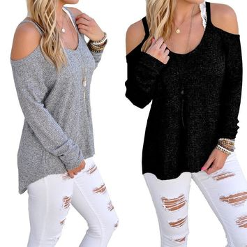 Womens Long Sleeve Loose Top Blouse T Shirt Cut Out Ladies Cold Shoulder Jumper