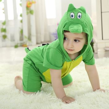 Summer Baby Clothes Short Rompers Cartoon Animal Green dinosaur Cosplay Photo Props Jumpsuit Newborn Infant Sleepers Hooded