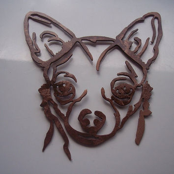 Chihuahua Head Antique Copper Metal Wall Art Decor