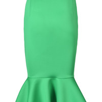 Green Midi Pencil Skirt With Ruffled Hem
