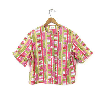 NYC SUBWAY Printed Short Sleeve Shirt 50s Cropped Top PINK Mid Century Button Up Blouse 1960s Retro Tshirt Small Medium Louannes Vintage