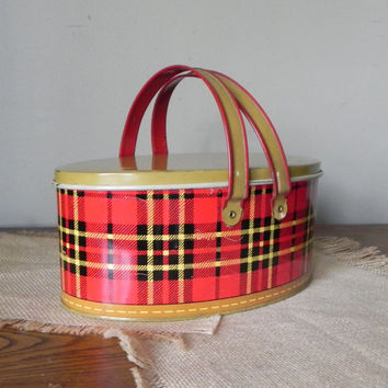 Vintage plaid tin basket metal with lift out tray and swing handles