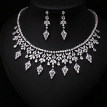 Fashion Clear Arrow With Square Shape CZ Diamond and Pearl Jewelry Sets For Wedding ,Necklace earring set