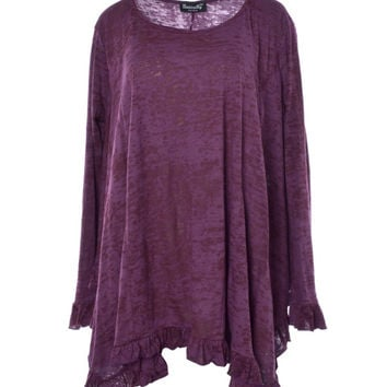 Basically Me Long Sleeved Burnnout Knit Ruffle Tee (Plum)