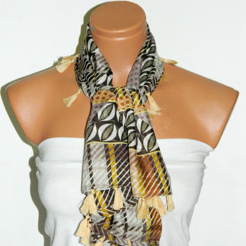 Brown Beige Geometric Scarf ,Patterned Scarf, Fashion Anatolian Scarves, Woman Accessory