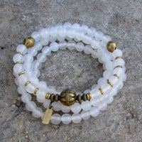 Calm, 108 bead mala white agate wrap bracelet or necklace with African Trade Beads