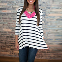 Black And White Stripe Knit Tee