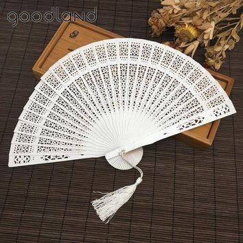 Free Shipping 30pcs with Organza Bag Japanese Folding Fan Wood;Wooden Asian Pocket Fan Decoration Mariage Oornaments Kraft