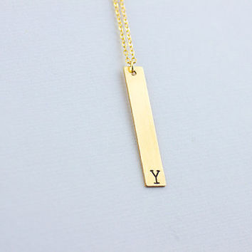 Name Plate initial necklace.Personalized gold filled necklace. Rectangle  Necklace. Doutzen Kroes, Celebrity Inspred necklace. bar necklace,