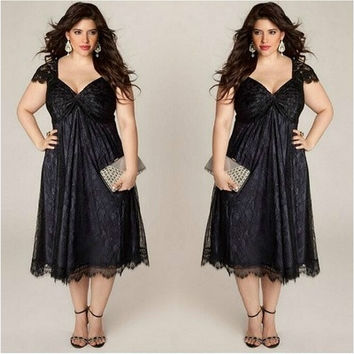 Women's Plus Size Sweet Lace Dress Fashion Summer Sexy V Neck Elegant Dress [8833404556]