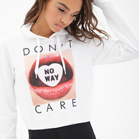 FOREVER 21 No Way Boxy Hoodie White/Black