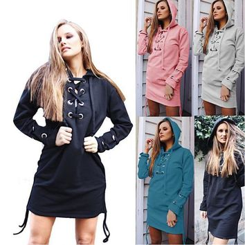 Autumn Winter Women's Fashion Long Sleeve Sweatshirt Dress With Cross Lace Up Hooded Hoddies Women Outwear LX3637