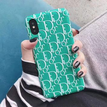 DIOR Hot Sale Couple Chic iPhone Phone Cover Case For iphone 6 6s 6plus 6s-plus 7 7plus iPhone X XR XS XS MAX Green
