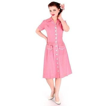 Vintage Seersucker Day Dress Pink WW2  Early 1940s Stylecraft Frocks 36-29-47 (Discount)