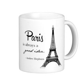 Paris / Eiffel tower/ Audrey Hepburn mug